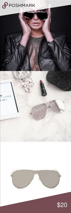 49bc7d79f13 Silver Oversized Mirror Lens Sunglasses Silver mirror lens Silver frame  Oversized fit Approximate Measurements  -Full Width -Side bar -Individual  lens  W x ...