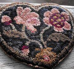 Peony Heart finished hooked mat by primitivespirit on Etsy