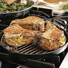 Double-cut #pork chops filled with a savory seasonal stuffing