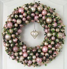 Türkranz Weihnachten rosa 30cm Kugelkranz Adventskranz Wandkranz Weihnachtskranz
