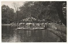 Paddle boats at Williams Grove amusement park near Mechanicsburg PA. Card cancelled in 1949.