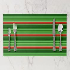 Red and Green Stripes Placemat - patterns pattern special unique design gift idea diy