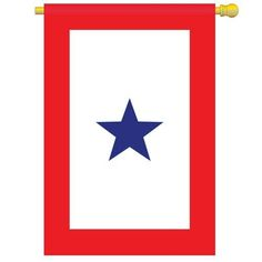 """Blue Star Service Flag Indoor/outdoor 28"""" X 44"""" by Two Group Flag. $18.95. Pole hem and attachment tab. Dimensions: 28"""" x 44"""". This Blue Service Star Flag is hand-sewn and made of the finest polyester for  excellent fly ability. It is specifically manufactured for outdoor use and has superior wearing quality. Measures: 28"""" x 44"""". Show your support for your loved one who is currently serving at war."""