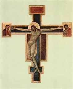 Close up of the Santa Croce Crucifix painted in 1265 by the famous Italian artist Cimabue. It was very badly damaged during the flood in Florence in 1966. It had always hung in front of the main altar but in an effort to save this treasure the monks took it down and stored it. Unfortunately, Santa Croce is at the low point of Florence and the Basilica was covered in 6 feet of mud from the Arno River.