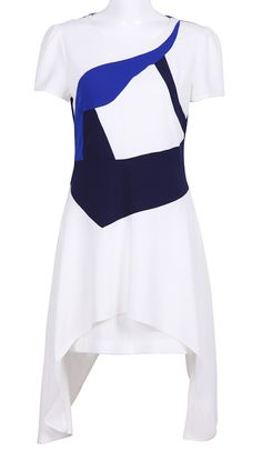 White Blue Short Sleeve Asymmetrical Dress - Sheinside.com