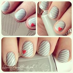 Simple grey stripes with hearts