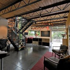 black steel ceiling truss office interior - Google Search