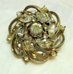 Domed Spiral Vintage Rhinestone Pin, Brooch #Unbranded