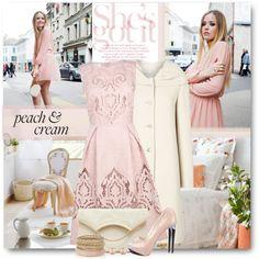 """Peach & Cream"" by brendariley-1 on Polyvore"