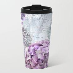 Vintage Flower Hydrangea Hortensia Collage Metal Travel Mug
