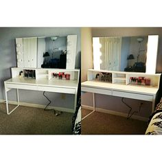 So this is my DIY Vanity that I finished yesterday. I got tired of sitting on the floor with my makeup bag and get ready like a homeless person every day. I was completely inspired by @facesbystacye YouTube video. I was going to buy a pre-made one but that, plus a desk would have been around $600. The desk was the MICKE Desk at Ikea ($69.99) and all of the wood for the shelves, mirror, paint and all of the other supplies were like $100. The lights are $10 each at Wal-Mart (my boyfriend did…