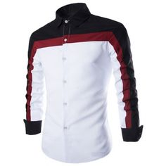 Wholesale Fashion Shirt Collar Fitted Three Color Splicing Long Sleeve Polyester Shirt For Men Only $6.81 Drop Shipping | TrendsGal.com