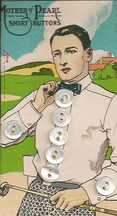 Mother of Pearl Shirt Buttons. Button card 1920s.
