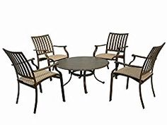 Panama Jack Outdoor Island Breeze 5-Piece Gathering Group Set, Includes 4 Armchairs and 1 Coffee Table