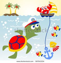 big turtle the skipper of under sea with his little friends, kids t shirt design, vector cartoon illustration