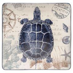 Coastal Postcards Sea Turtle Platter -  stoneware platter, featuring a sea turtle motif with carte postale details.    ...