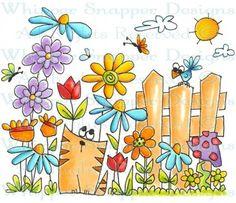 Cat Garden - Whimsical - Floral/Garden - Rubber Stamps - Shop