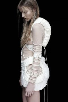 Sculptural Fashion dress with three-dimensional shape and texture with interesting use of thread to create pattern // Anne-Sofie Madsen