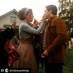 That time when the makeup artist fell into a hole on set and twisted her ankle and @erinkrakow and @daniellissing did each other's final touches haha  love these two #hearties