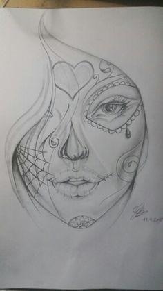Face drawing  Sugar skull  Credit:vika kurosaki chan