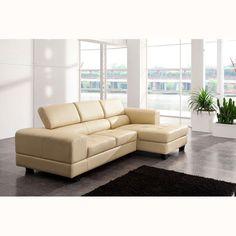 Modena Genuine Leather Corner Sofa Cream