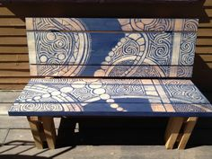 Artistic Hand-Painted Bench 4 foot bench. SAMPLE. on Etsy, $400.00