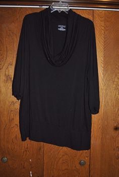 Lane Bryant 18/20W cowl neck 3/4 sleeve knit casual top, black #LaneBryant #KnitTop #Casual