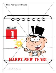 Happy New Year Calendar January 1st Jigsaw Puzzle http://www.kidscanhavefun.com/new-years-activities.htm #newyear #puzzle