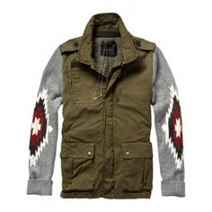 Army inspired jacket with ikat designed sleeves - Inbetweens - Scotch & Soda Online Shop