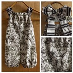 This ephemera print 4t premium cotton Bubble Romper is adorable and one of a kind!