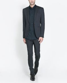 Image 1 of NAVY FASHION SUIT WITH CONTRASTING COLLAR from Zara