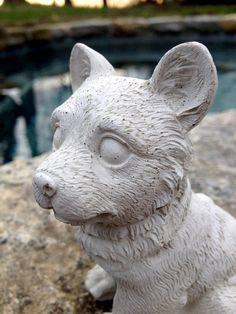 Concrete Corgi Statue Dog Statues Garden by DecorObjectsEmotions
