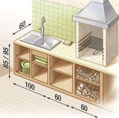Encombrement et dimensions d'une cuisine de plein air comprenant barbecue, évier, petit plant de travail - http://www.systemed.fr/