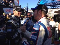 Dale Jr congratulating Jimmie for the win at Dover.