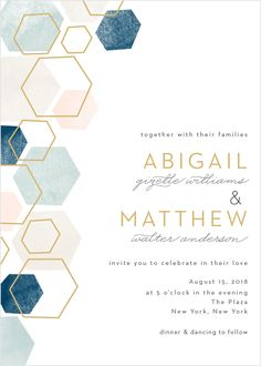 Wedding Planning Geometric Watercolor Wedding Invitations - A geometric pattern in pink and blue hues with some gold hexagon outlines graces the left side of this invitation. Beach Wedding Invitations, Watercolor Wedding Invitations, Wedding Invitation Wording, Invitation Design, Invitation Templates, Event Invitations, Gala Invitation, Invitations Online, Invitation Envelopes