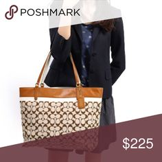 """Large Signature Coach Tote Large Coach tote bag. Purchased from the Coach store at the Mall of America. In perfect condition, I used it for maybe a week. No marks or flaws. Approx size is 18.5""""L x 5""""W x 12""""H Coach Bags Totes"""