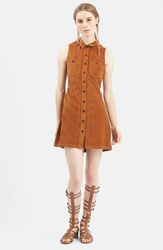 Topshop Sleeveless Corduroy Dress available at Topshop, Button Front Dress, Estilo Retro, Dress Cuts, Denim Fashion, Runway Fashion, Nordstrom Dresses, Corduroy, Women Wear