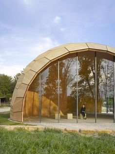 The _Landesgartenschau Exhibition Hall_ is an architectural prototype building and a showcase for the current developments in computational design and robotic fabrication for lightweight timber construction.