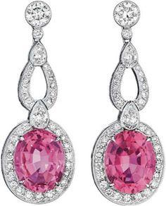106: A Pair of Pink Tourmaline and Diamond Ear Pendants : Lot 106