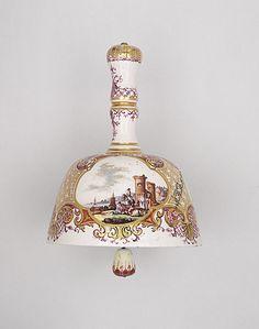 Table Bell, circa 1740  Ceramic, Porcelain with enamel and gilding, Johann Gregor Heroldt (style of) (Germany, Jena, 1696 - 1775) , Meissen Porcelain Manufactory (Germany, Meissen, born founded 1710)