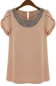 Shop Pink Round Neck With Bead Chiffon Blouse online. SheIn offers Pink Round Neck With Bead Chiffon Blouse & more to fit your fashionable needs. Chiffon Shirt, Chiffon Tops, Nude Shorts, Look Fashion, Fashion Outfits, Fashion Women, Street Fashion, Beaded Chiffon, Beaded Top