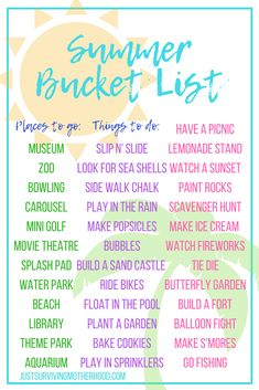 "The Ultimate Summer Bucket List Summer is here! Are your kids driving you crazy yet? Between fighting with each other, fighting with you over screen time, and telling you how ""bored"" they are – despite having wh… Summer Fun List, Summer Bucket Lists, Summer Kids, Summer Goals, Summer Is Here, Summer Activities For Kids, Family Activities, Toddler Activities, Indoor Activities"
