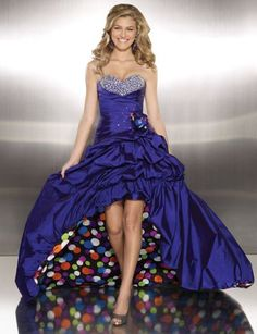 Fun Polka Dot Hi-Lo Ball Gown Paparazzi Prom Dress 8708 by Mori Lee at frenchnovelty.com
