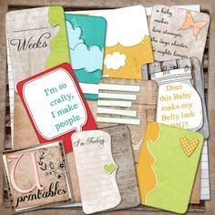 lots of other printables, project life, scrapbook papers etc  Free Printable pregnancy Journaling cards from U Printables