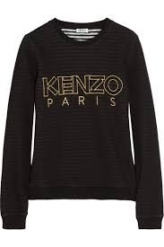 Kenzo Striped-lining cotton sweatshirt - ShopStyle Kenzo Pullover, Kenzo Sweater, Blusas Top, All Black Everything, Vintage Inspired Dresses, Sporty Style, Sport Fashion, Women's Fashion, Clothing Items