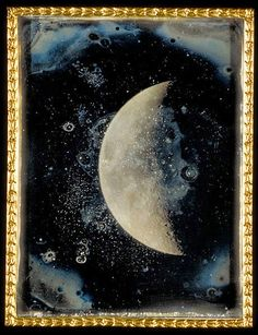 View of the Moon' - Daguerreotype taken through Harvard's Great Refractor Telescope by John Adams Whipple on February 26, 1852