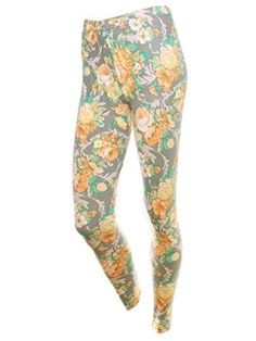 015acb74283d2 Ponce Women Slim Multi Color Tropical Floral Print Footless Fitted Legging  Pant * Check out the