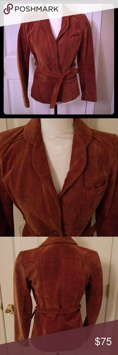 Vintage rust leather suede jacket size small Awesome reddish rust color, snazzy 70s suede! Marked size 7, will fit XS or S. Great used condition with no defects other than typical wear and a small mark that looks like ink as seen in pic. Pet free, smoke free. Vintage Jackets & Coats