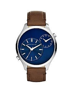 Armani Exchange AX Three-Hand Brown Leather Watch - Online Only Brown Leather Watch, Watches Online, Chronograph, Navy Blue, How To Wear, Accessories, Style, Products, Swag
