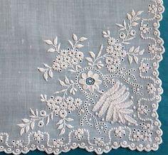 Pretty antique/vintage hand made whitework handkerchief